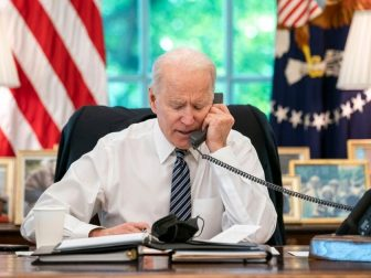 President Joe Biden speaks on the phone with Israeli Prime Minister Benjamin Netanyahu on Wednesday, May 12, 2021, in the Oval Office of the White House. (Official White House Photo by Adam Schultz)