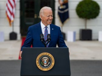 President Joe Biden delivers remarks to essential and frontline workers and military families attending the Fourth of July celebration, Sunday, July 4, 2021, on the South Lawn of the White House. (Official White House Photo by Katie Ricks)
