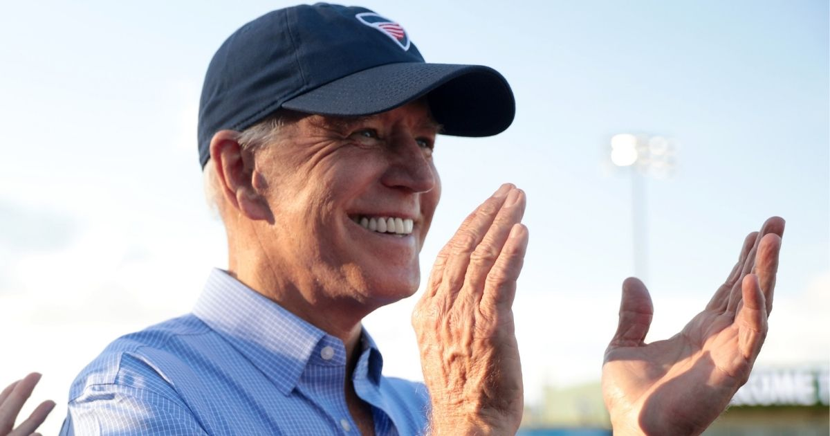 Then-former Vice President Joe Biden at the Fourth of July Iowa Cubs game at Principal PArk in Des Moines, Iowa.