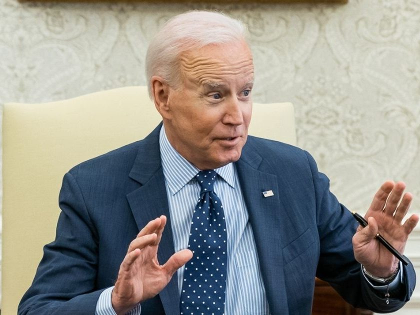 President Joe Biden meets with U.S. Sen. Shelley Moore Capito to talk about passing an infrastructure bill on June 2.