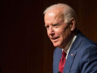 Then-Vice President Joe Biden speaks at the LBJ Presidential Library on Oct. 3, 2017.
