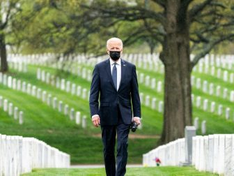 President Joe Biden arrives to lay a wreath and observes a moment of silence on Wednesday, April 14, 2021, at Arlington, National Cemetery in Arlington, Virginia. (Official White House Photo by Cameron Smith)