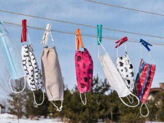 Masks hanging on a clothesline