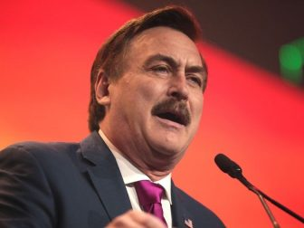 Mike Lindell speaking with attendees at the 2020 Student Action Summit hosted by Turning Point USA at the Palm Beach County Convention Center in West Palm Beach, Florida.