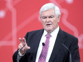 Former Speaker of the House Newt Gingrich of Georgia speaking at the 2015 Conservative Political Action Conference (CPAC) in National Harbor, Maryland.