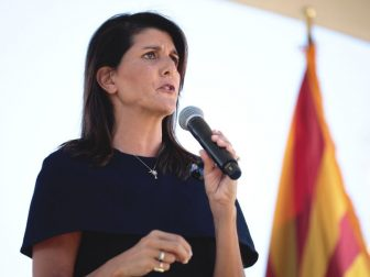 Former United Nations Ambassador Nikki Haley speaking with supporters at a campaign event for U.S. Senator Martha McSally at a home in Scottsdale, Arizona.