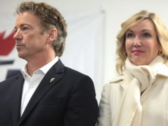 U.S. Senator Rand Paul and his wife, Kelley Paul, speaking with supporters at a campaign office visit at his Iowa campaign headquarters in Des Moines, Iowa.