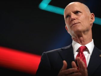U.S. Senator Rick Scott speaking with attendees at the 2021 Student Action Summit hosted by Turning Point USA at the Tampa Convention Center in Tampa, Florida.