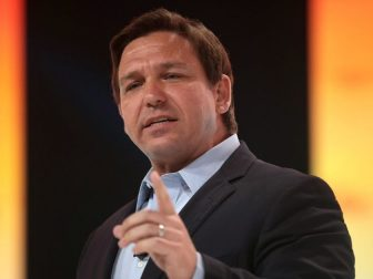 Governor Ron DeSantis speaking with attendees at the 2021 Student Action Summit hosted by Turning Point USA at the Tampa Convention Center in Tampa, Florida.