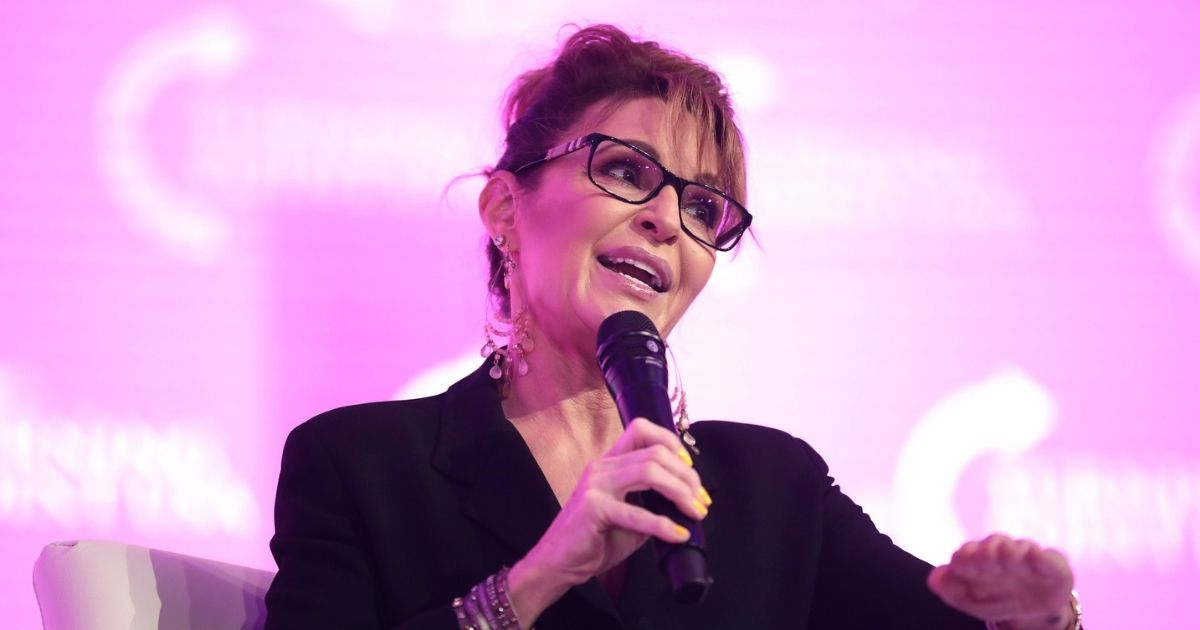 Former Republican Alaska Gov. Sarah Palin speaks at the 2021 Young Women's Leadership Summit hosted by Turning Point USA in Grapevine, Texas