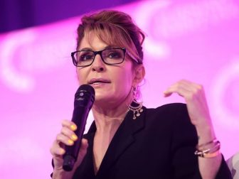 Former Governor Sarah Palin speaking with attendees at the 2021 Young Women's Leadership Summit hosted by Turning Point USA at the Gaylord Texan Resort & Convention Center in Grapevine, Texas.