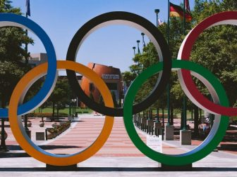 The Olympic rings are shown in Centennial Olympic Park in Atlanta.