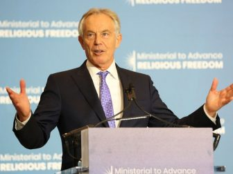 Former British Prime Minister Tony Blair delivers remarks at the Ministerial to Advance Religious Freedom at the U.S. Department of State in Washington D.C. on July 17, 2019. [State Department photo by Ralph Alswang/ Public Domain]