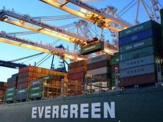 Evergreen cargo ship at the Port of Baltimore