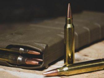 Brass colored gun ammunition