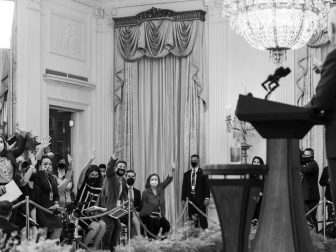 President Joe Biden takes questions from reporters following his remarks on COVID-19 Tuesday, Aug. 3, 2021, in the East Room of the White House.