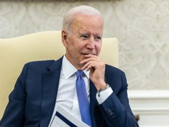 President Joe Biden receives a COVID-19 briefing on Thursday, July 22, 2021, in the Oval Office of the White House.