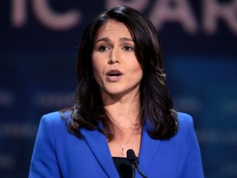 U.S. Congresswoman Tulsi Gabbard speaking with attendees at the 2019 California Democratic Party State Convention at the George R. Moscone Convention Center in San Francisco, California.