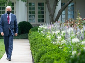 President Joe Biden walks through the Rose Garden of the White House, Tuesday, Aug. 3, 2021, on his way to deliver remarks on COVID-19. (Official White House Photo by Adam Schultz)