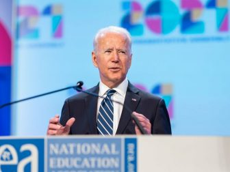 President Joe Biden delivers remarks at the NEA 2021 Virtual Representation Assembly Friday, July 2, 2021, at the Washington Convention Center in Washington, D.C. (Official White House Photo by Adam Schultz)