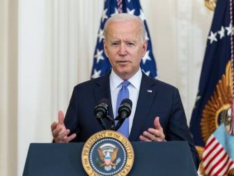 President Joe Biden, joined by Vice President Kamala Harris, delivers remarks on the Victims of Crime Act Fix to Sustain the Crime Victims Fund on Thursday, July 22, 2021, in the East Room of the White House. (Official White House Photo by Adam Schultz)