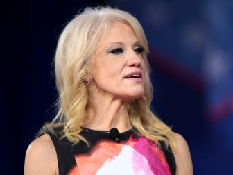 Kellyanne Conway speaking at the 2017 Conservative Political Action Conference (CPAC) in National Harbor, Maryland.
