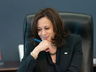 Vice President Kamala Harris listens during a phone call with World Trade Organization General Dr. Okonjo-Iweala Thursday, March 11, 2021, in her West Wing Office of the White House.