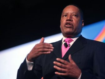 Larry Elder speaking at the 2016 FreedomFest at Planet Hollywood in Las Vegas, Nevada.