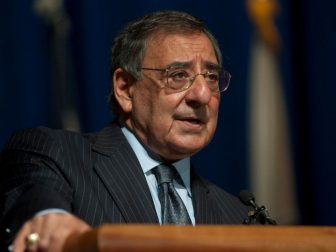 Secretary of Defense Leon E. Panetta addresses staff members at Walter Reed National Military Medical Center (WRNMMC) in Bethesda, Md., Dec. 4, 2012. Panetta thanked the more than 300 attendees for their efforts since Walter Reed Army Medical Center merged with the National Naval Medical Center in August 2011 to create WRNMMC. (DoD photo by Mass Communication Specialist 1st Class Chad J. McNeeley, U.S. Navy/Released)