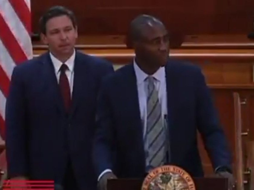On Tuesday, Republican Gov. Ron DeSantis of Florida, left, announced the appointment of Dr. Joseph Ladapo as the state's new surgeon general.