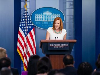 Press Secretary Jen Psaki answers questions from members of the press Monday, July 26, 2021, in the James S. Brady Press Briefing Room of the White House. (Official White House Photo by Cameron Smith)