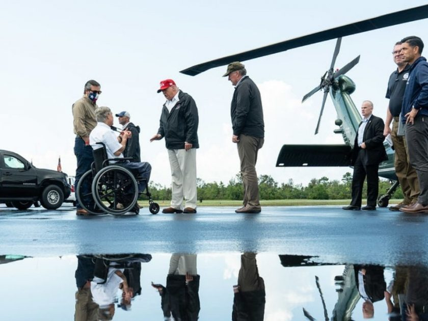 President Donald J. Trump disembarks Marine One at Orange County Airport in Orange, Texas, Saturday, Aug, 29, 2020, where he is greeted by Texas Governor Greg Abbott to visit areas impacted by Hurricane Laura.