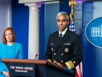 U.S. Surgeon General Vivek Murthy, joined by Press Secretary Jen Psaki, delivers remarks and answers questions from member of the press Thursday, July 15, 2021, in the James S. Brady White House Press Briefing Room. (Official White House Photo by Cameron Smith)