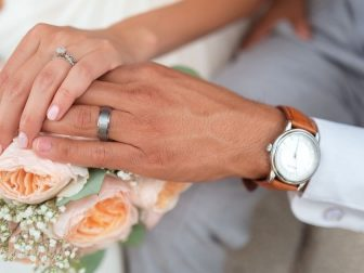 Man and woman wearing wedding bands