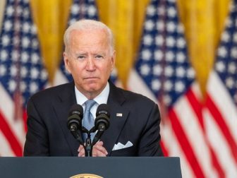 President Joe Biden delivers remarks on the situation in Afghanistan, Monday, August 16, 2021 in the East Room of the White House.