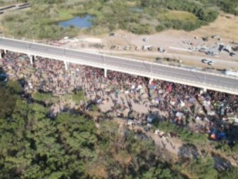 An image from a Fox News drone captured thousands of illegal immigrants under a bridge in Del Rio, Texas, on Sept. 19.